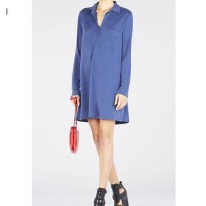 BCBG MaxAzria Blakely Blue Collared Shirt Dress L